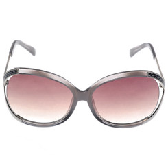Oversized Sunglasses With Pink Snakeskin Detail