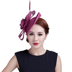 Purple Rose Feather Fascinator