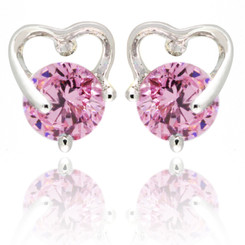 Neoglory Elegant Sweetheart Round Zircon Earrings