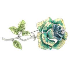 Neoglory Sparkling Crystallized Enamelled Rose Large Brooch