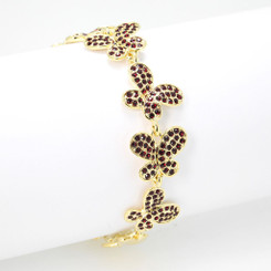 Neoglory Bling Crystals Embellished Linked Butterflies Bracelet