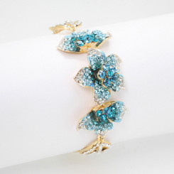 Neoglory Enchanting Gold Plated Crystals Lotus Flowers Bracelet