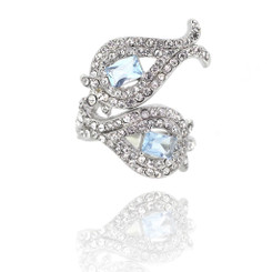 Neoglory Glittering Twin Fishes Zircon/Crystals Chic Ring