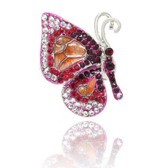 Neoglory Shimmering Shades Of Colors Crystals Butterfly Adjustable Ring