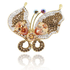 Neoglory Glittering Crystals Flying Butterfly Adjustable Ring