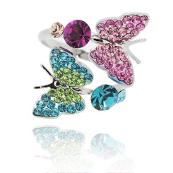 Neoglory Sparkling Crystals Summer Twin Butterflies Adjustable Ring