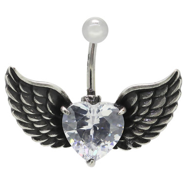 Black Angel Wings Belly Bar Image 1
