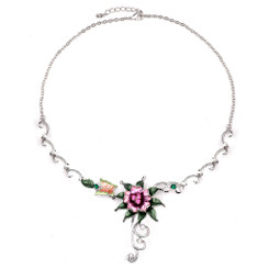 Neoglory Gorgeous Enamelled Roses/Butterfly Necklace