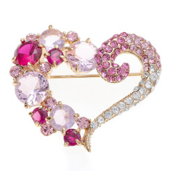 Neoglory Sparkling Cluster Crystals Super Sweet Heart Brooch