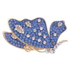 Neoglory Shimmering Crystals Decorated Flying Butterfly Brooch