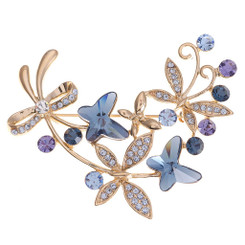 Neoglory Glamorous Summer Cluster Flowers And Butterflies Brooch