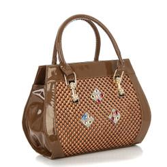Dark Brown Rhombus Crystal Bag