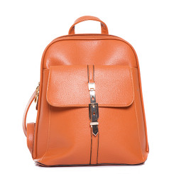 Classic Orange Leather Backpack