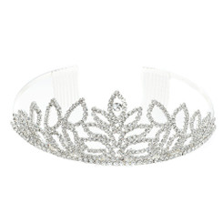 Silver Plated Crystal Leaf Tiara
