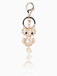 Gold Crystal Owl Keyring