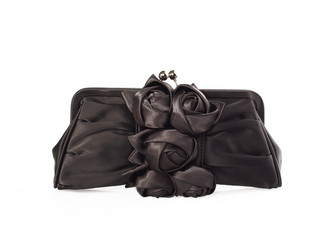 Black Satin Flower Bag