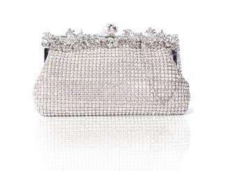 Silver Floral Cluster Crystal Bag
