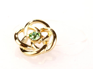 Elasticated Gold Plated Green Crystal Rose Toe Ring
