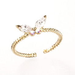 Gold Plated Clear Crystal Butterfly Toe Ring