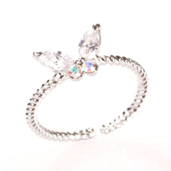 Silver Plated Clear Crystal Butterfly Toe Ring