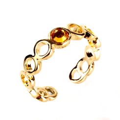 Gold Plated Orange Crystal Looping Toe Ring