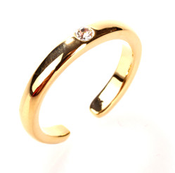 Gold Plated Clear Crystal Single Diamond Toe Ring