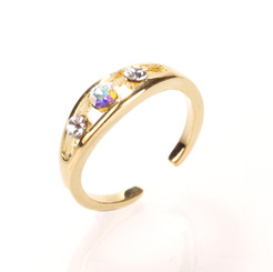 Gold Plated Clear Crystal Triple Diamond Toe Ring