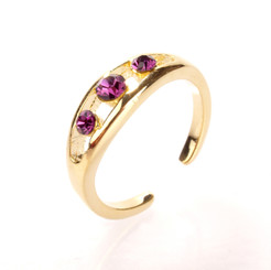 Gold Plated Purple Crystal Triple Diamond Toe Ring