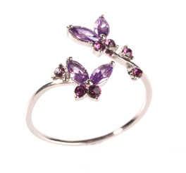 Silver Plated Purple Crystal Twin Butterfly Toe Ring