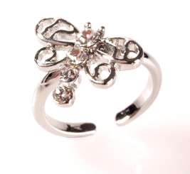 Silver Plated Clear Crystal Large Dragonfly Toe Ring