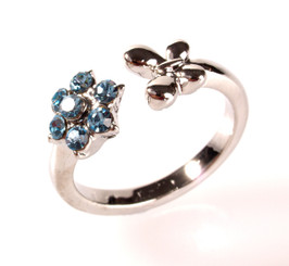 Silver Plated Blue Crystal Flower & Butterfly Toe Ring
