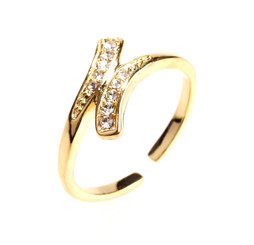 Gold Plated Clear Crystal Spiral Toe Ring