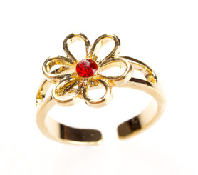 Gold Plated Red Crystal Flower Toe Ring