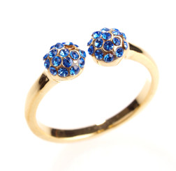 Gold Plated Blue Crystal Berry Ball Toe Ring