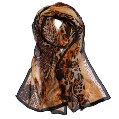 Brown Snake & Leopard Print Chiffon Scarf