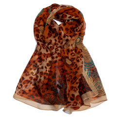 Brown Leopard & Paisley Print Chiffon Scarf