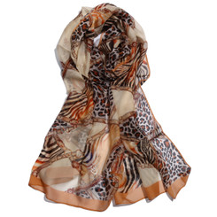 Brown Chain & Animal Print Chiffon Scarf
