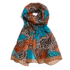 Blue Chain & Animal Print Chiffon Scarf