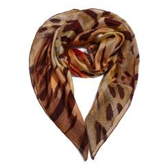 Brown Animal Print Chiffon Scarf