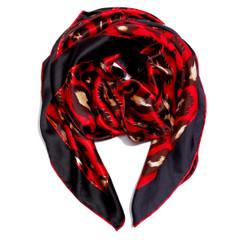Red Leopard Print 100% Silk Scarf