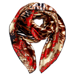 Funky Red Animal Print 100% Silk Scarf