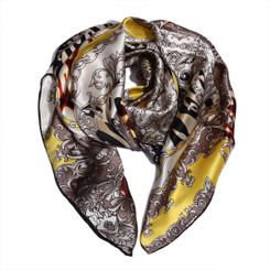 Funky Yellow Animal Print 100% Silk Scarf