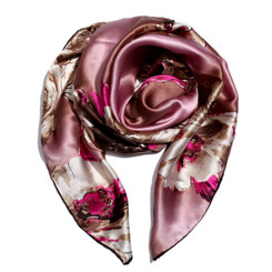 Chunky Pink Floral Print 100% Silk Scarf