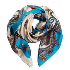 Dark Blue Floral Paisely 100% Silk Scarf
