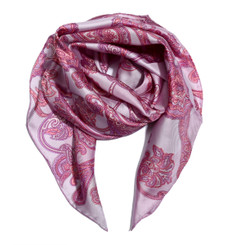 Light PInk Floral Paisely 100% Silk Scarf