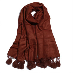 100% Brown Tencel Wool  Pom Pom Scarf
