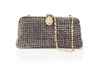 Black Vintage Flower Clasp Crystal Bag