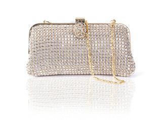 Gold Vintage Flower Clasp Crystal Bag