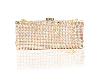 Long Gold Crystal Bag