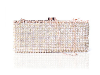 Long Rose Gold Crystal Bag